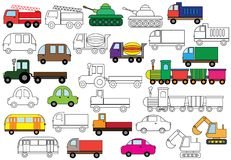 Transport. Set of cars. Coloring book. Vector illustration. Transport. Set of cars. Coloring book. Vector illustration Stock Photography