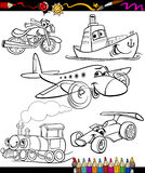 Transport set for coloring book Royalty Free Stock Photos