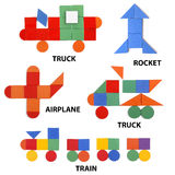 Transport set of geometric figures Royalty Free Stock Photos