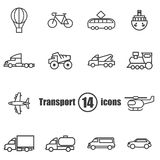 Transport set of 14 icons in a flat style Stock Photography