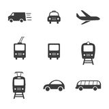 Transport set icons. Transport set Vector icons  on white background. Flat vector illustration in black. EPS 10 Royalty Free Stock Image