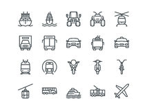Transport. Set of outline vector icons. On a white background Royalty Free Stock Image