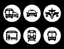 Transport set on round icons Stock Photos