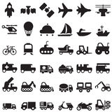 Transport2. Set of transportation icons, in black Royalty Free Stock Photos