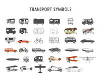 Transport shapes and elements for creation your own outdoor labels, wilderness retro patches, adventure vintage badges. Hiking stamps. Rv trailers, planes Stock Photos