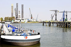 Transport ship in europort harbor stock image