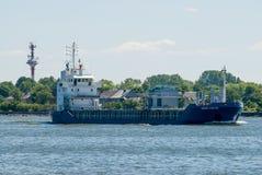 Transport ship goes via Baltic sea channel to sea Stock Image