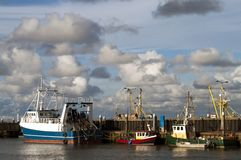 Transport ships. Transport ship with clouds, in Den Hag, Netherlands Stock Photo