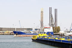 Transport Ships In Europort Harbor Royalty Free Stock Image