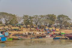 Transport ships on Irrawaddi river Royalty Free Stock Image