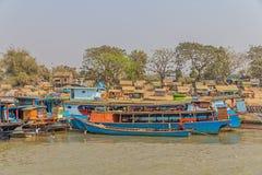 Transport ships on Irrawaddi river Stock Photos