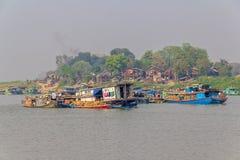 Transport ships on Irrawaddi river Royalty Free Stock Photos