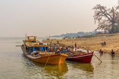 Transport ships on Irrawaddi river Royalty Free Stock Photography