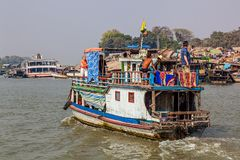 Transport ships on Irrawaddi river Stock Photo