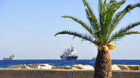 Transport ships in the roads. Of Limassol, Cyprus Royalty Free Stock Image