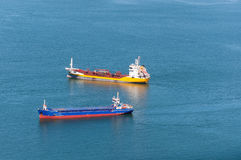 Transport ships on Tagus River near Lisbon Stock Photos