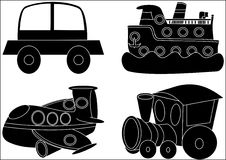 Transport-silhouettes. Transport silhouette car auto boat air locomotive vector illustration