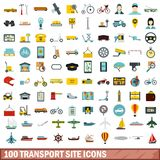 100 transport site icons set, flat style. 100 transport site icons set in flat style for any design vector illustration Stock Image