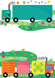Transport Card_eps. Illustration of transport card with flowers follow. Top wagon box and center is your sample text Royalty Free Stock Images