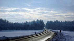 Transport by snow and ice in the winter Stock Photos