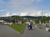 Transport in Sochi Olympic Park, velomobiles and electric cars Stock Photo