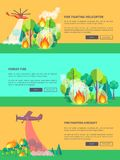 Transport Solving Problem of Fire in Forest. Transportation means solving problem of fire in forest vector web banner in graphic design. Burning trees and Stock Photos