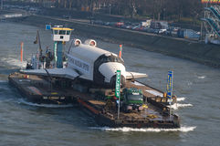 Transport of space-shuttle. Transfer of the russian spaceshuttle Buran at river Rhine near Duesseldorf to the destination Technical Museum Speyer. the transport royalty free stock photo