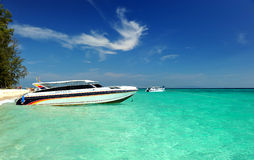 Transport speed boat for island tourism Royalty Free Stock Images