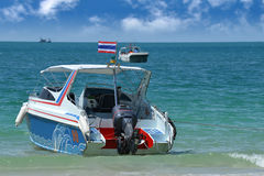 Transport speed boat for island tourism. In outdoor sun lighting Royalty Free Stock Image
