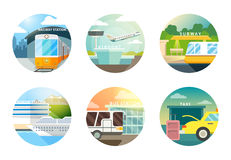 Transport stations flat icons set Royalty Free Stock Image