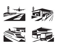 Transport stations with vehicles in perspective Stock Photography