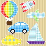 Transport stickers. Set of cute vector colorful transport stickers