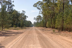 Transport. A straight stretch of rural dirt road with tree all along the side into the distance Stock Photos