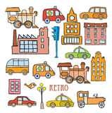 Transport in the style of cartoon Stock Images