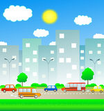 Transport in summer city. With sun and cloud Stock Photo