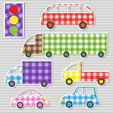 Transport textile stickers vector illustration