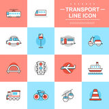 Transport thin line icons Royalty Free Stock Image