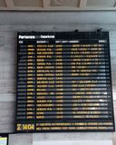 Transport timetable at a rail station in Italy. Public transport timetable at a rail station in Italy Royalty Free Stock Images