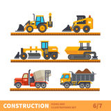 Transport and tool for construction. Construction set. Transport and tool for construction. Transport of gravel, concrete workpiece, asphalting. Vector flat Royalty Free Stock Image