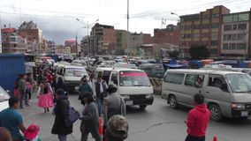 Transport traffic jam and crowd of people in El Alto. Transport traffic jam and crowd of people in a rush hour in El Alto, La Paz, Bolivia, South America stock video footage