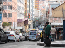 Transport and Traffic jam in La Paz, Bolivia Stock Image
