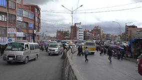 Transport traffic, market and crowd of people in El Alto. Transport traffic, market and crowd of people in a rush hour in El Alto, La Paz, Bolivia, South America stock footage