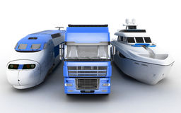 Transport. Train, truck and yacht Royalty Free Stock Photos