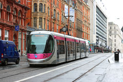 Transport. Tram in a city street. Stock Photo