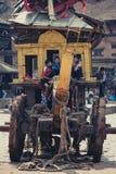 Transport étrange antique au Népal Photographie stock