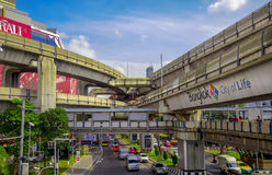 Transport and transit in  Bangkok, Thailand. Bangkok, Thailand - January 11,2016 : Transport and transit in capital .The BTS Skytrain (Bangkok Mass Transit Royalty Free Stock Images
