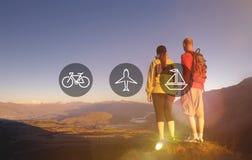 Transport-Transport-Ikonen-Reise Journay-Reise-Konzept Stockbild