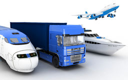 Transport. Transport. Train, truck, airplane and yacht. Royalty Free Stock Photography