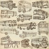 Transport, Transportation around the World. Buses. - An hand dra Royalty Free Stock Image