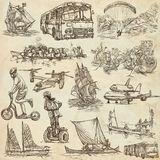Transport, Transportation around the World - An hand drawn colle Royalty Free Stock Images